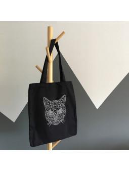 Czarna torba z kotem