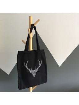 Czarna torba z jeleniem