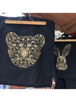 Czarna torba ze złotym misiem