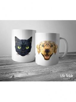Zestaw kubków z psem i kotem
